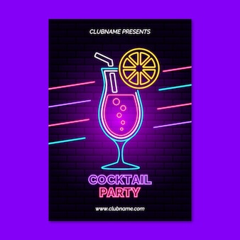 Neon cocktailparty poster
