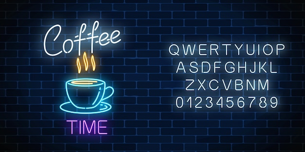 Neon coffeeshop uithangbord met alfabet op een donkere bakstenen muur