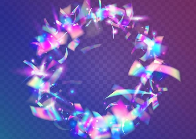Neon confetti. bokeh schittert. vakantie folie. laserflare. fantasie kunst. carnaval-effect. violet glanzende glitter. disco vieren sjabloon. paarse neon confetti