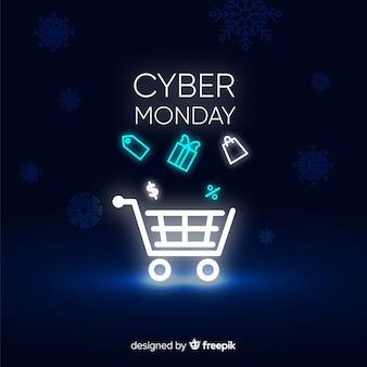 Neon cyber maandag banner