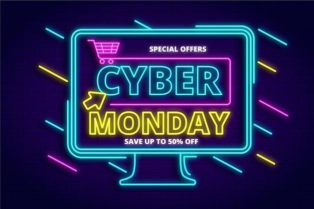Neon cyber maandag concept
