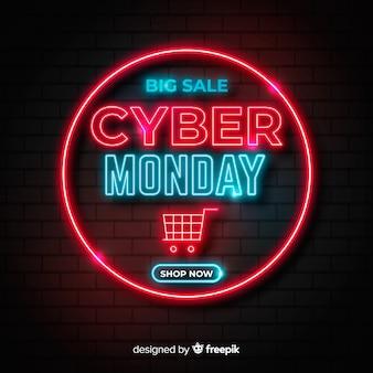 Neon cyber maandag en winkelwagen
