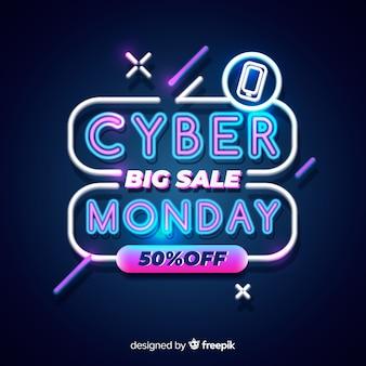 Neon cyber maandag grote verkoop