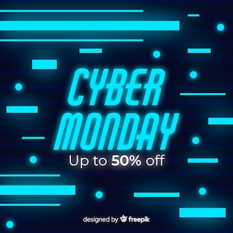 Neon cyber maandag in plat ontwerp