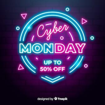 Neon cyber maandag met geometrische vormen