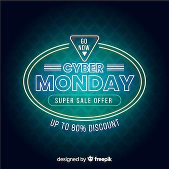 Neon cyber maandag super verkoop banner