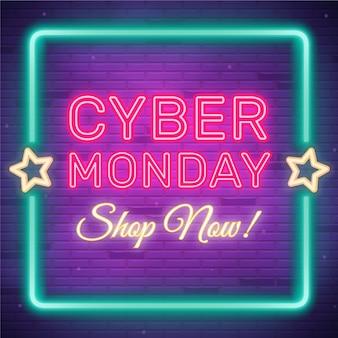 Neon cyber maandag verkoop teken
