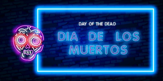 Neon day of the dead, banner van dia de los muertos