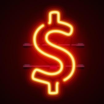 Neon dollarteken, banner stad vector illustratie