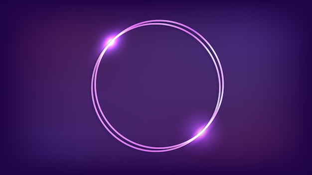 Neon dubbel rond frame met glanzende effecten op donkere achtergrond. lege gloeiende techno achtergrond. vector illustratie.