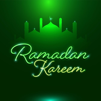 Neon effect ramadan kareem-lettertype met silhouetmoskee