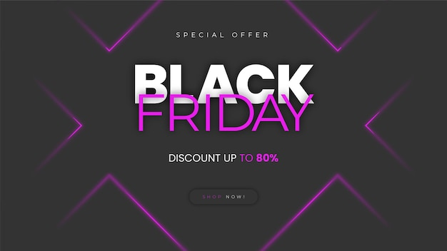 Neon effect zwarte vrijdag homepage banner