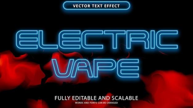 Neon elektrisch vape teksteffect bewerkbaar eps-bestand