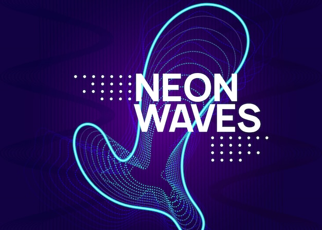 Neon elektronische fest flyer. electro dansmuziek. trance geluid. club evenement poster. techno dj-feest.