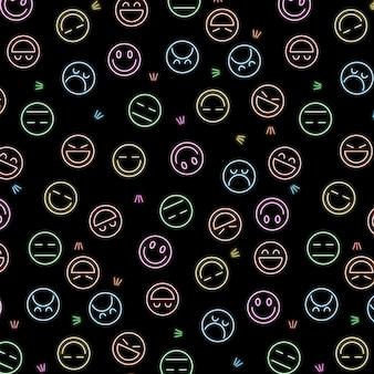 Neon emoticons patroon sjabloon
