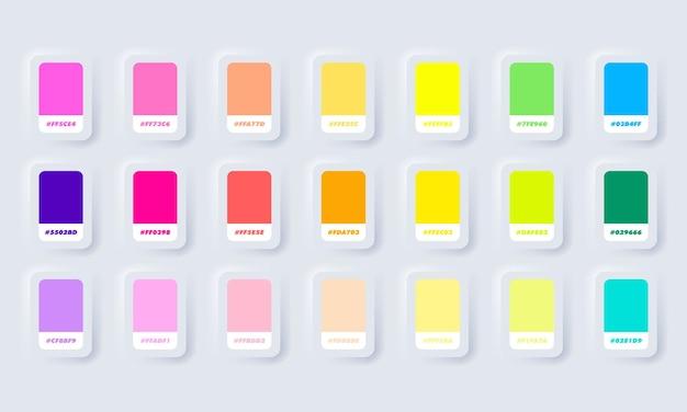 Neon en pastel kleurenpalet. catalogus monsters neon in rgb hex. kleurencatalogus. neumorphic ui ux witte gebruikersinterface webknop. neumorfisme.