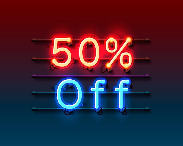 Neon frame 50 uit tekstbanner. nacht bord.