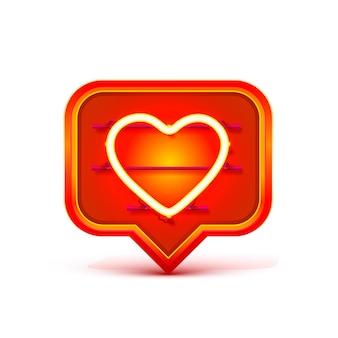 Neon frame chat bord in de vorm van een hart. sjabloon ontwerpelement. vector illustratie