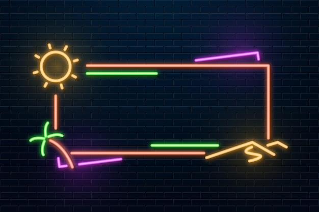 Neon frame met tekening van de zon