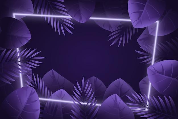 Neon frame realistische bladeren