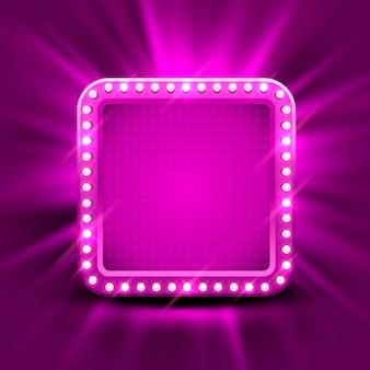 Neon frame teken in de vorm van een cirkel. sjabloonontwerpelement, vectorillustratie