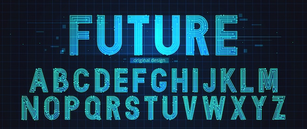 Neon futuristische alfabet sjabloon