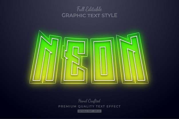 Neon geelgroen bewerkbaar teksteffect