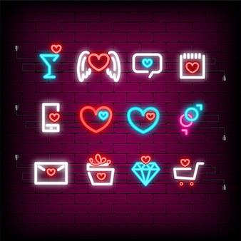 Neon gelukkig valentijnsdag ingesteld pictogram