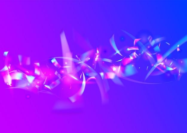 Neon-glitter. vliegende kunst. feestelijke folie. paarse laserachtergrond. metalen veelkleurige illustratie. iriserende textuur. regenboog klatergoud. retro-element. blauwe neon-glitter