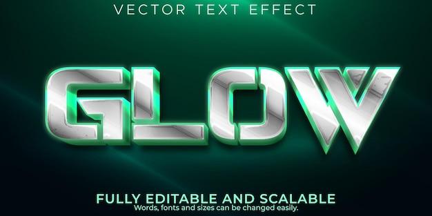 Neon gloed teksteffect, bewerkbare glanzende en elegante tekststijl