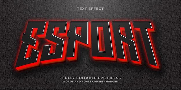 Neon gloeiend rood esport teksteffect bewerkbare eps cc