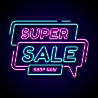 Neon gloeiend verkoopteken