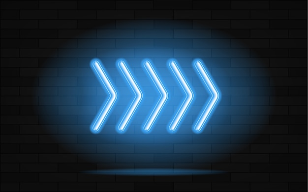 Neon gloeiende pijlwijzer op donkere achtergrond.