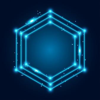 Neon gloeiende techno lijnen frame achtergrond