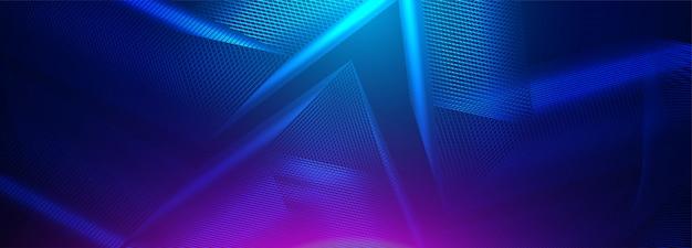 Neon gloeiende technolijnen, blauwe hi-tech futuristische abstracte achtergrond.