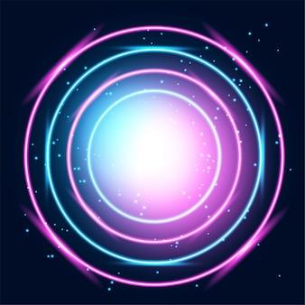 Neon gloeiende technolijnen, hi-tech futuristische samenvatting
