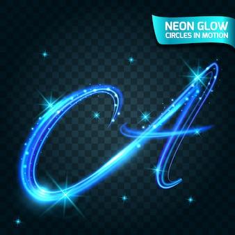 Neon glow-cirkels in beweging wazig randen, glitters een schitterende, magische, kleurrijke designvakantie. abstracte gloeiende ringen langzame sluitertijd van het effect.