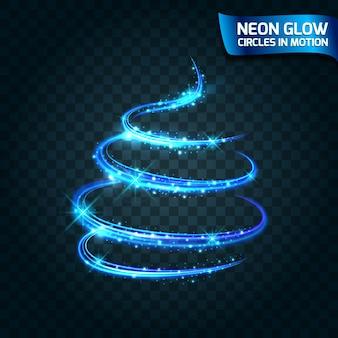Neon glow cirkels in beweging wazig randen, heldere gloed schittering gloed magie