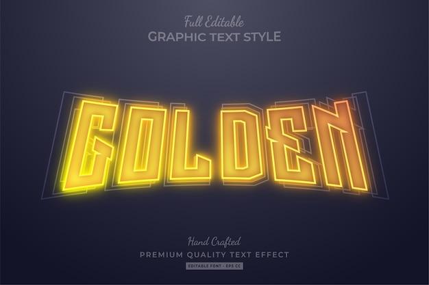 Neon gouden bewerkbaar teksteffect