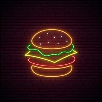 Neon hamburger teken concept illustratie
