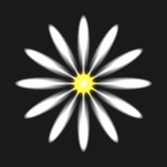Neon heldere bloem op zwarte achtergrond. gloeiend elektrisch teken. vectorillustratie.