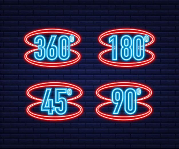 Neon het 360-graden hoekpictogram. geometrisch wiskundig symbool. volledige rotatie