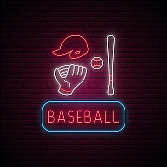 Neon honkbal borden set