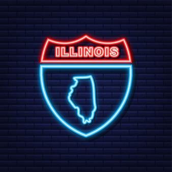 Neon icoon kaart van de staat illinois uit de verenigde staat van amerika. vector illustratie.