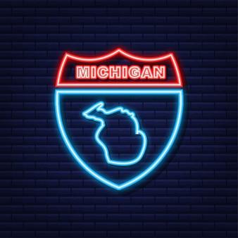 Neon icoon kaart van de staat michigan uit de verenigde staat van amerika. vector illustratie.