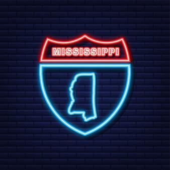 Neon icoon kaart van de staat mississippi uit de verenigde staat van amerika. vector illustratie.