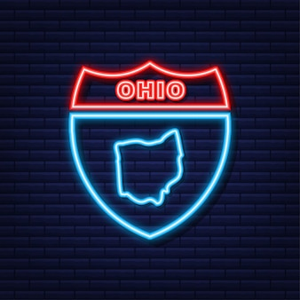 Neon icoon kaart van de staat ohio uit de verenigde staat van amerika. vector illustratie.