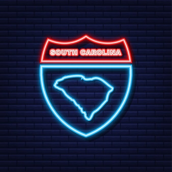 Neon icoon kaart van de staat south carolina uit de verenigde staat van amerika. vector illustratie.