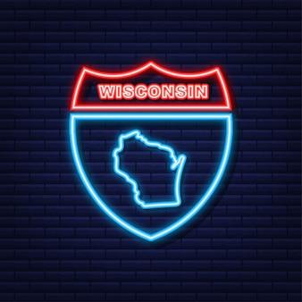 Neon icoon kaart van de staat wisconsin uit de verenigde staat van amerika. vector illustratie.
