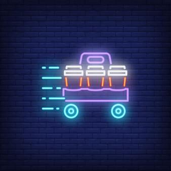Neon icoon van afhaalmaaltijden